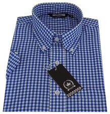 Relco Men's Blue Gingham Short Sleeved Button Down Collar Mod Skinhead Shirt