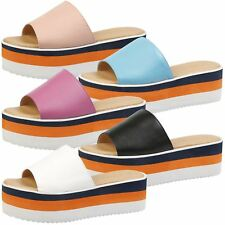 WOMENS SHOES LADIES SANDALS POOL SLIDES MULES PLATFORM BEACH SUMMER CASUAL SIZE