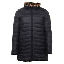 E7256 piumino donna SAVE THE DUCK black double face ecofur jacket woman maculato