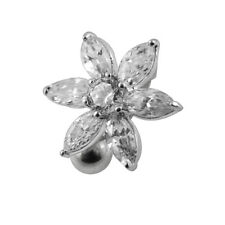 14G 10 mm Jeweled Flower Navel Body Ring in Surgical Steel Piercing Jewellery