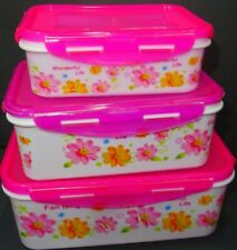 PLASTIC CONTAINER SET TUPPERWARE WITH LIDS 5PCS FOOD STORAGE LUNCH BOX NEW 5PC