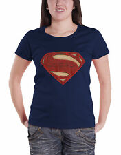 Superman T Shirt Superman Man Of Steel Logo new Official Womens Navy Skinny Fit