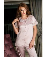 Women Pale Pink Satin and Lace Pyjama Set  European Products