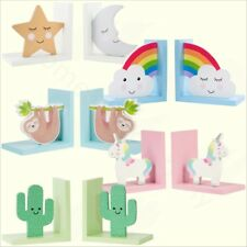 Childrens Kids Wooden Bookends Boys Girls Nursery Book Ends Home Decoration Gift