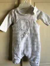 BNWT Mothercare 2 Piece Outfit/ Dungarees/L-Sleeve Vest. Unisex. TB - 1 Mths