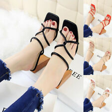 Women Open-Toe Block Casual High Heels Sandals Slippers Square Toe Fashion Shoes