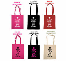 KEEP CALM AND EAT A CUPCAKE CARRY ON SHOPPING TOTE BAG FUN BIRTHDAY GIFT CAKE
