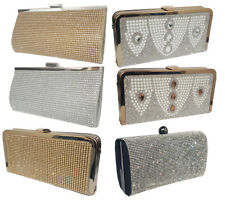 Ladies Shiny Party Prom Evening Hand Bag Glitter Shimmer Wedding Clutch
