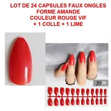 LOT 24 CAPSULES TIPS FAUX ONGLE AMANDE ROUGE GEL UV VERNIS COLLE LIME ONG117