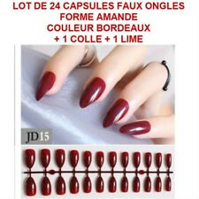 LOT 24 CAPSULES TIPS FAUX ONGLE AMANDE BORDEAUX GEL UV VERNIS COLLE LIME ONG114