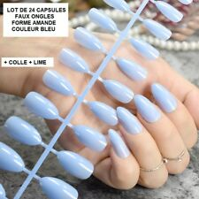 LOT 24 CAPSULES TIPS FAUX ONGLE AMANDE BLEU GEL UV VERNIS COLLE LIME ONG098