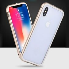 Luxury Metal Aluminum Color Frame Back For iPhone X 8 7 Plus Tempered Glass Case