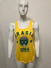 New Womens Burnout Sleevless Brasil Vest Top World Cup Football Soccer 2014 2018
