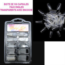 BOITE 100 CAPSULES TIPS TRANSPARENT FAUX ONGLE ENCOCHE GEL UV VERNIS ONG525