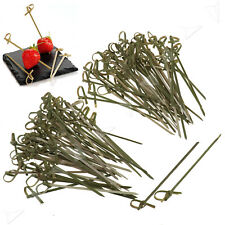 QO 50-100Pcs Bamboo Knot Skewer Stick Ideal Canape Buffet Party Dinner Tableware