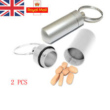 Silver Waterproof Pill Box Case Container Capsule Bottle Keyring Keychain Travel