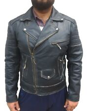 Men's Black Black Leather Jacket, Rub Off Leather Jacket, Casual Leather Jacket