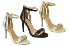 SEXY LADIES HIGH STILETTO HEEL ANKLE CUT STRAPPY PEEP TOE SANDALS 1257-2 SHOES