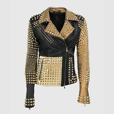 Women Golden Studded Jacket, Punk Style, Biker jacket, Women Punk Leather Jacket