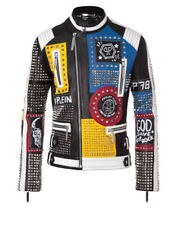 Multi color Studded Leather Jacket Rock Punk Patches Jacket Biker Leather jacket