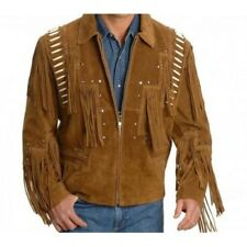 Genuine Suede leather Jacket western style Black Fringes jacket Brown Jacket