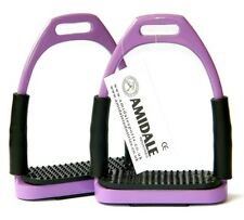 FLEXI SAFETY STIRRUPS HORSE RIDING BENDY IRONS STAINLESS STEEL PINK BNWT