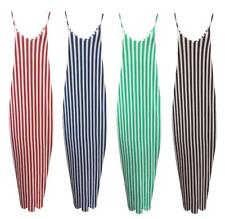 WOMENS LADIES SLEEVELESS SUMMER CAMI STRAPPY DRAPE STRIPED LONG MAXI DRESS 8-26