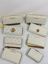 MICHAEL KORS Vanilla Wallet Wristlets Phone Case PVC MK Double Zip Choose Style