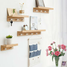 Wall Mounted Shelf, Floating Storage Rack, Hanging Shelf with Hooks for Home