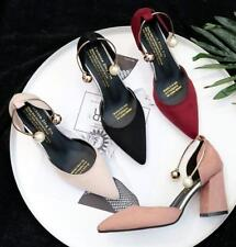 Women Suede Point Toe Pearls Ankle Strap Sandals Block Mid Heel Fashion Shoes
