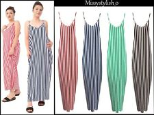Women's Ladies New Design Stripe Strappy Maxi Dress Four Colours All size