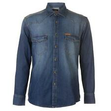 PR 119405   PIERRE CARDIN CAMICIA DENIM UOMO MID BLUE WASH