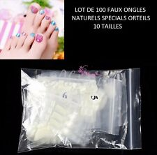 LOT 100 CAPSULES TIPS NATUREL FAUX ONGLE ORTEIL PIED PEDICURE GEL VERNIS ONG018