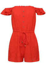 Superdry Women's Lilah Schiffli Playsuit - Ahoy Red