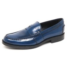 E7874 mocassino uomo light/dark blu TOD'S scarpe shiny leather loafer shoe man