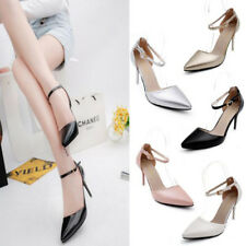 Ladies Point Toe Stiletto Sandals Ankle Strap Buckle Grace High Heel Party Shoes
