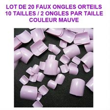 LOT 20 CAPSULES TIPS FAUX ONGLE MAUVE ORTEIL PIED PEDICURE GEL VERNIS ONG708