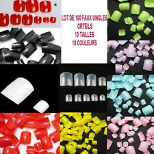 LOT 100 CAPSULES TIPS FAUX ONGLE 10 COULEURS GEL UV VERNIS COLLE LIME ONG701