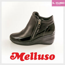 MELLUSO STIVALETTO DONNA PELLE E VERNICE COLORE NERO ZEPPA H 5 CM MADE IN ITALY