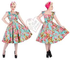 Hearts & Roses 50s Turquoise Pink Floral Retro Vintage Women Rockabilly Dress
