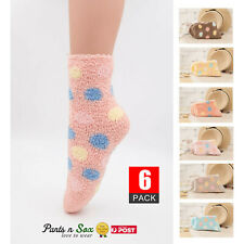 6 Pairs Women Spotted Non Slip Winter Fluffy Ladies Bed Socks Thick Warm 2-8