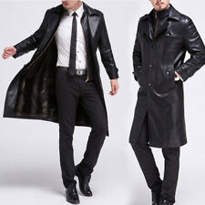 LUSSO UOMO INVERNO similpelle cappotto lungo Trench giacca