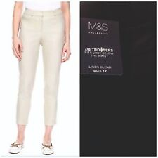 Ladies 7/8 Trousers Linen Womens Cotton Cropped Tapered Slim Fit Crop New M&S