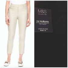 Ladies Trousers Linen Womens Cotton Cropped Tapered Slim Fit Crop New M&S