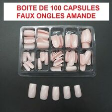 BOITE 100 CAPSULE TIPS FAUX ONGLE ROSE CLAIR ENCOCHE GEL UV VERNIS FRENCH ONG079