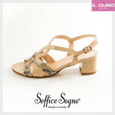 SOFFICE SOGNO SANDALO DONNA VERNICE COLORE BEIGE TACCO H 5 CM MADE IN ITALY