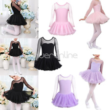 Children Kids Girls Leotard Dance Dress Costumes Ballet Tutu Skirt Dancewear UK