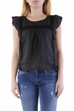 GR 71361 Negro blusa mujer olivia hops made in italy sin mangas cierre de anillo