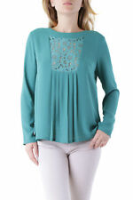 GR 76642 Verde blusa mujer olivia hops blusa made in italy: botones mangas lu