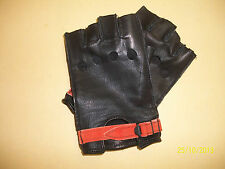 Negro Deerskin Abierto Nudillos Guantes sin Dedos Guantes Made In The USA